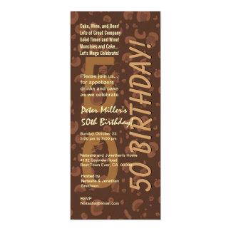 50th Modern Birthday Chocolate Coffee Camo Tall Card