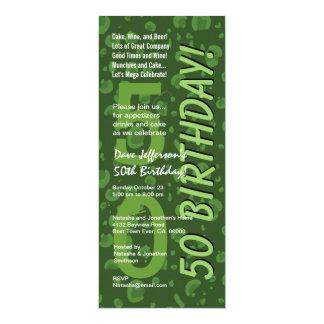 50th Modern Birthday Green Tall Card