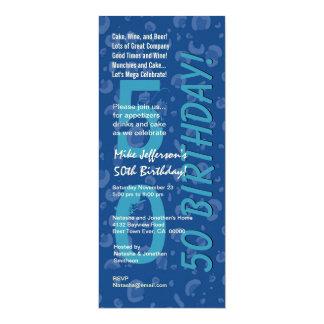 50th Modern Birthday Hues of Blue Camo Confetti Card