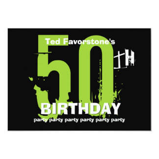 50th Modern Birthday Party Green and Black W1507 Invitations