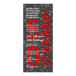 50th Modern Birthday Red Gray Leopard Camo Card