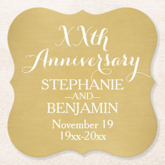50th or Other Wedding Anniversary Personalized Paper Coaster