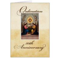 50th Ordination Anniversary Angels at Altar Greeting Card