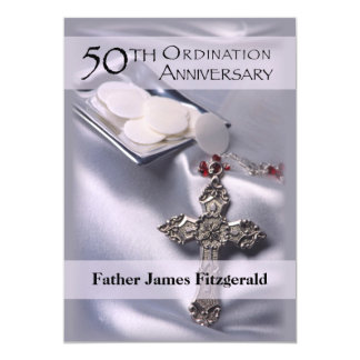 50th Ordination Anniversary Invitation Cross Host