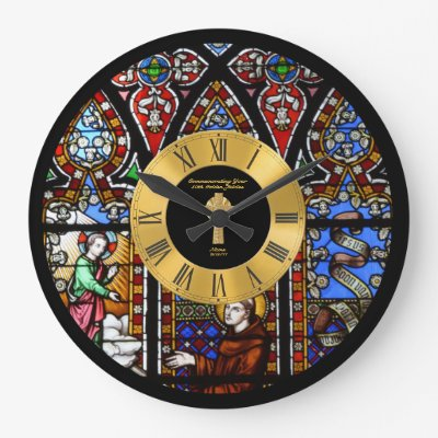 50th Ordination Anniversary Stained Glass Golden Large Clock