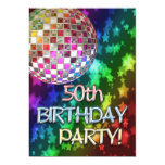 50th party with disco ball and rainbow of stars card