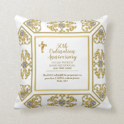 50th PRIEST Ordination Anniversary Personalized Throw Pillow