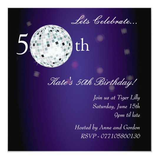 50th Purple Disco Ball Party Invitation
