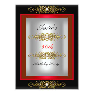 50th Red Black Silver Birthday Party Card