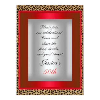 50th Red Leopard Silver Birthday Party Card