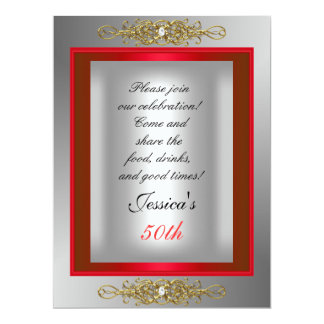 50th Red  Silver Birthday Party Card