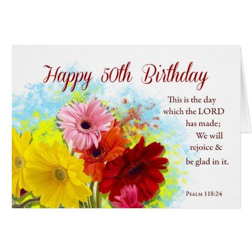 Th religious birthday gerbera daises flowers card zazzle