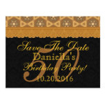 50th Save the Date Birthday Gold Black Lace Postcards