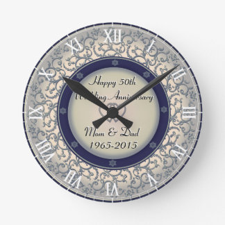 50th Silver Wedding Anniversary Wall Clocks