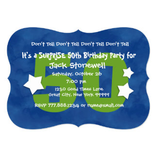 "50th SUPRISE Birthday Blue and Green W044A3 5"" X 7"" Invitation Card"