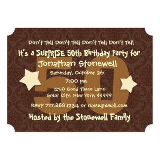 "50th SUPRISE Birthday Chocolate and Gold W044A1 5"" X 7"" Invitation Card"