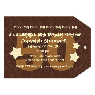 "50th SUPRISE Birthday Chocolate and Gold W044A2 5"" X 7"" Invitation Card"