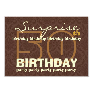 50th SUPRISE Birthday Chocolate and Gold W044A Card
