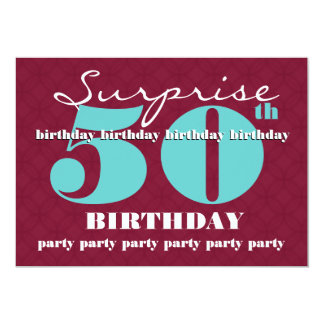 50th SUPRISE Birthday Party Aqua Red White T302 Card