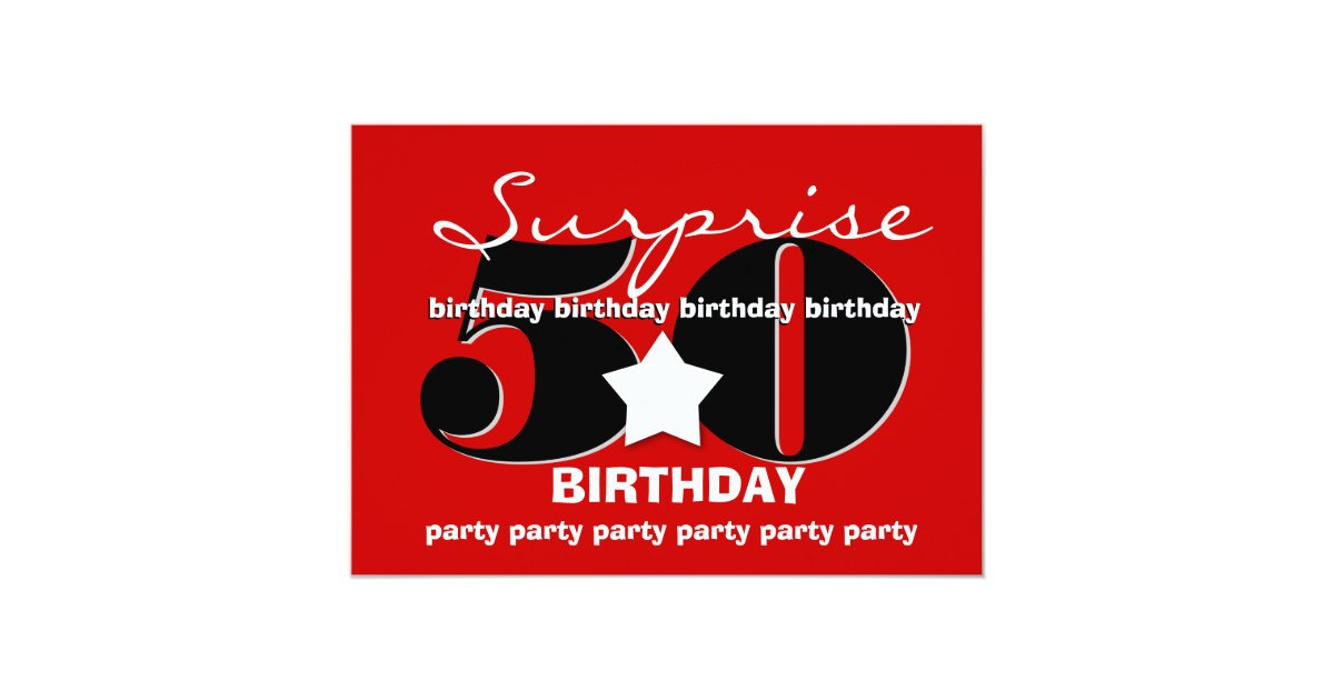 50th suprise birthday party big number template a8 card zazzle. Black Bedroom Furniture Sets. Home Design Ideas