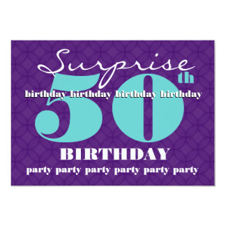 "50th SUPRISE Birthday Party Blue and Purple T301 5"" X 7"" Invitation Card"