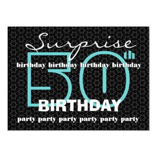 50th SUPRISE Birthday Party Blue Black Stars E521 Card