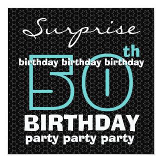 50th SUPRISE Birthday Party Blue Black Stars F521 Card