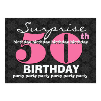 50th SUPRISE Birthday Party Pink Black For Her E32 Personalized Invite