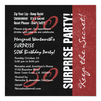 50th SURPRISE Birthday Black and Red Grunge Personalized Announcement