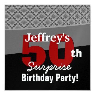 50th Surprise Birthday Black Red White Diamonds Announcements