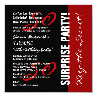 50th SURPRISE Birthday Black Red White Felt Paper Card