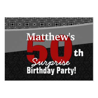50th Surprise Birthday Black White Red Y327 Personalized Invitations
