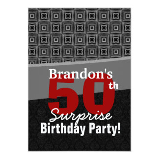 50th Surprise Birthday Black White Red Y328 Card
