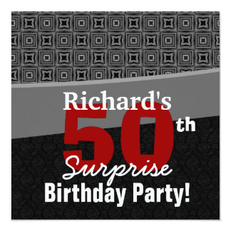 50th Surprise Birthday Black White Red Y329 Card
