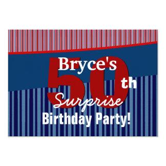 50th Surprise Birthday Blue Red Stripes V06 Card