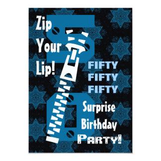 50th SURPRISE Birthday Blue Stars Zipper W1686 Card
