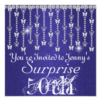 50th Surprise Birthday Butterfly BLUE Invitation