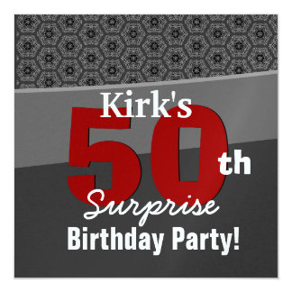 50th Surprise Birthday Charcoal and Red Modern Card