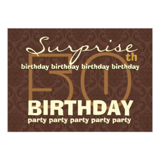 50th SURPRISE Birthday Chocolate and Gold Damask Cards