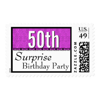 50th SURPRISE BIRTHDAY Fuchsia and Lace G203 Postage