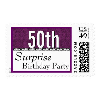 50th SURPRISE BIRTHDAY Fuchsia and Lace G203D Postage