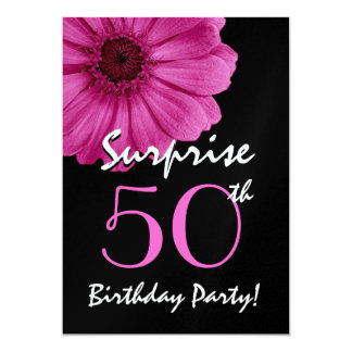 50th Surprise Birthday Gerbera Daisy Metallic Card