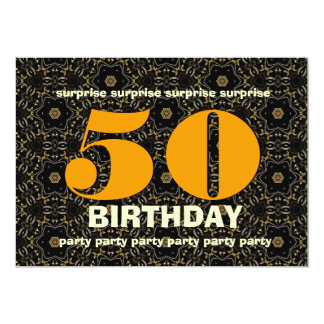 50th Surprise Birthday Gold and Black V02 Card