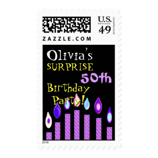50th SURPRISE Birthday Invitation Purple Candles Postage