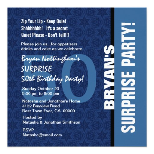 Personalized surprise 50th birthday party invitations 50th surprise birthday modern hues of blue s693 invitation filmwisefo Choice Image