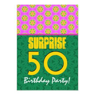 50th Surprise Birthday Modern Pink Green Gold V10 Card