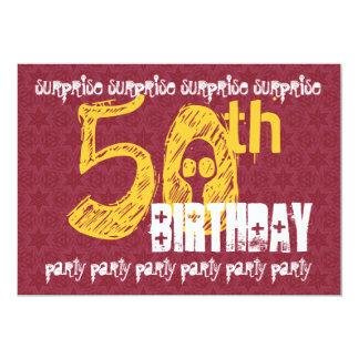 50th SURPRISE Birthday Modern Skull Number 5x7 Paper Invitation Card