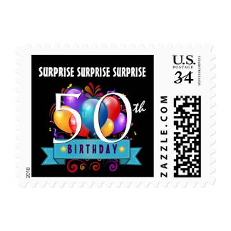 50th SURPRISE Birthday Party Balloons B50Z Postage