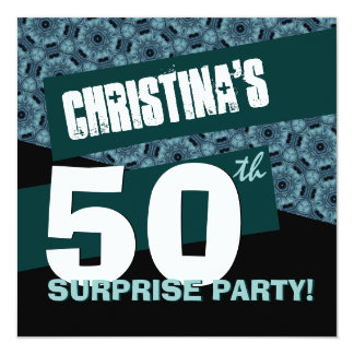 50th Surprise Birthday Party Black Teal G32A2 Card