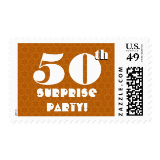 50th Surprise Birthday Party Gold and White W1266 Postage